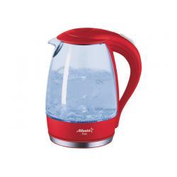 Чайник электрический, стеклянный Atlanta ATH-2461, 1,7 л, 1850-2200 Вт, красный