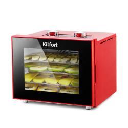 Сушилка для овощей и фруктов Kitfort KT-1915-2, красная, 340 Вт
